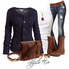 Jeans ;0          Chic Blue Outfit Idea for Early Spring 2015