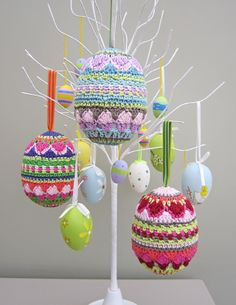 """From the author or """"Homespun Vintage"""" are these gorgeous crochet Easter eggs..."""