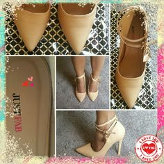 Justfab: Jaslene 7.5 This gorgeous beige or nude (depending on your skin tone) looks great with any outfit! Dress up your jeans. Add a little style to a basic midi dress. The Jaslene  features a 4.75 inch heel & no platform. And, a gorgeous lock & key woth easy removal for just a basic look. Wore once inside for just a few hours. In very good condition almost like new. JustFab Shoes