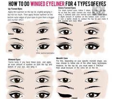 4 types of liner for 4 eye styles. Eyeliner Hacks, Eyeliner Styles, Eyeliner Makeup, Kajal Eyeliner, Drugstore Makeup, Eyeliner Waterline, Monolid Makeup, Corrective Makeup, Eyeliner Liquid