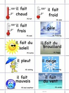 """Print two sets of """"Quel temps fait-il?"""" on printable business card sheets for an instant MEMORY GAME. Or use them as group talk cues or flashcards. Or run one card for every student and have them find their """"twins"""" by asking """"Quel temps fait-il?""""  If you have other applications for this resource, I'd love your feedback."""