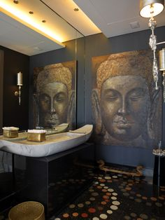 Asian bathroom with Buddha Asian Wall Decor, Asian Home Decor, Wall Art Decor, Mural Wall, Asian Bathroom, Bathroom Wall Art, Bathroom Sets, Zen Bathroom, Bamboo Bathroom