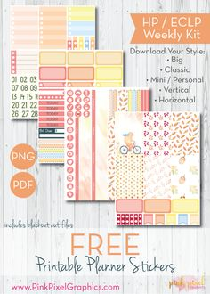 Free Printable Bear-ly Autumn Planner Stickers from Pink Pixel Graphics