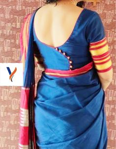 Latest saree blouse designs - New blouse back side designs. These are the best back side blouse designs. Blouse Back Neck Designs, Brocade Blouse Designs, Cotton Saree Blouse Designs, Simple Blouse Designs, Stylish Blouse Design, Latest Blouse Designs, Brocade Blouses, Designer Saree Blouses, Designer Blouse Patterns