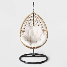 Hanging Egg Chair with Stand . Hanging Egg Chair with Stand . Swing Rattan Effect Poly Cocoon Hanging Egg Chair Brampton Contemporary Adirondack Chairs, Polywood Adirondack Chairs, Metal Patio Chairs, Porch Chairs, Room Chairs, Patio Loveseat, Hanging Egg Chair, Swinging Chair, Chair Swing