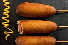 CORN DOGS - There's nothing like watching a hot dog hand-dipped in batter emerge crispy from the deep-fryer at the beach boardwalk or amusement park. Now you can bring the state fair home—it's easy to make your own corn dogs, and it works with veggie dogs, too. The fried corn dogs can be frozen for up to 2 weeks. To reheat, place them on a baking sheet and bake in a 350°F oven for 20 minutes or until heated through. Easy. Takes 45 minutes. | CHOW