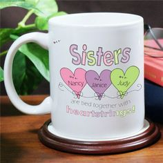 Sisters Coffee Mug | Heart Strings Personalized Sisters Coffee Cups