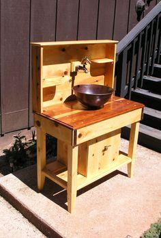 Custom Cedar Potting Bench Water Station by MidCenturyWoodShop, $1,150.00