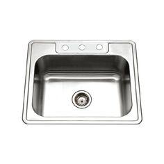 Houzer 2522-8BS3-1 Glowtone Series Topmount Stainless Steel Kitchen Sink, 8-Inch Deep