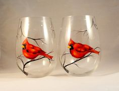 Wine glasses with Red Cardinal - set of 2