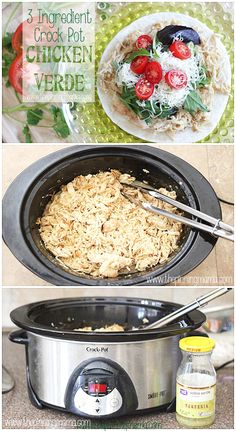 3 Ingredient Crock Pot Chicken Verde - This super easy weeknight dinner recipe that can be served on a bed of rice or used for tacos, quesadillas, enchiladas, salads and more!