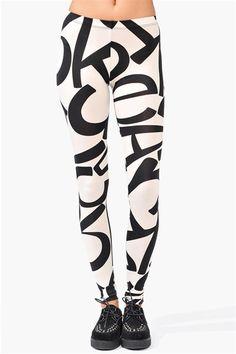 black and white letter leggings