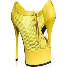 Lemon lime back zipper peep toe mesh look laces high heel platform... ($13) ❤ liked on Polyvore featuring shoes, boots, ankle booties, platform boots, peep toe platform booties, peep-toe boots, high heel platform booties and back zip boots