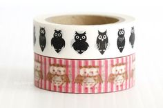 Owl Washi Tape owl decor Owl Baby Shower Brown Hot Pink and White Stripe