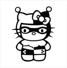 Hello Kitty Harley Quinn Vinyl Sticker Decal Choose Size and Color Comic Batman Hello Kitty Art, Hello Kitty Tattoos, Hello Kitty Halloween, Hello Kitty Wallpaper, Kawaii, Joker And Harley Quinn, Vinyl Projects, Vinyl Decals, Coloring Pages