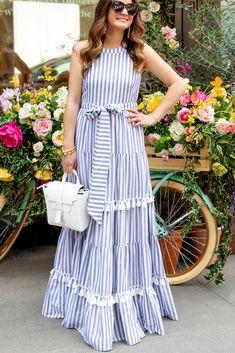 Eliza J Tiered Tassel Fringe Dress Stripe Maxi Nordstrom Simple Dresses, Beautiful Dresses, Casual Dresses, Formal Dresses, Outfit Vestidos, Dress Outfits, Fashion Dresses, Short Beach Dresses, Maxi Robes