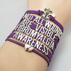 Purple Ribbon Fibromyalgia Awareness Bracelet