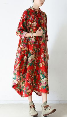 2017 spring blossom flowers print linen dresses bagg cotton dress