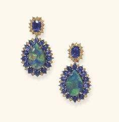 AN ELEGANT PAIR OF OPAL, SAPPHIRE AND COLORED DIAMOND EAR PENDANTS | Christie's