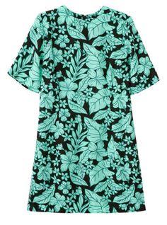 Green Short Sleeve Leaves Print Straight Dress 16.67