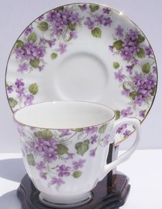$19.95 Fine Bone China Cup and Saucer Purple Violet Chintz From ChinaFind Get it here: http://astore.amazon.com/ffiilliipp-20/detail/B0016LUORQ/177-3835997-7532838