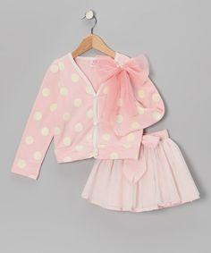 Adorable Pink Polka Dot Cardigan & Skirt on #zulily today!