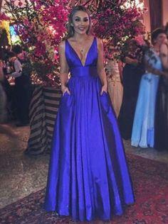 A line V-neckline Prom Gown,Royal Blue Evening Dress,Sexy