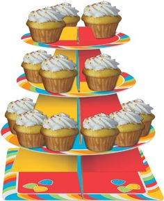 These tiers of treats are sure to tempt the taste buds of your guests! The Sugar Buzz Tiered Server features 3 graduated tiers - the smallest in red, the middle in yellow, and the largest in blue all bordered by a pinwheel candy stripe complete with a sq Decorating Tools, Cake Decorating, Cupcake Tier, Tiered Server, Wedding Plates, Party Napkins, Candy Party, Birthday Favors