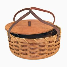 """This Amish Baskets handmade Pie Carrier will protect your pies, desserts, casseroles, and other dishes during travel. This pie keeper basket has a 12 1/2"""" inside diameter so it can easily accommodate"""