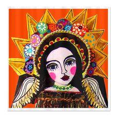 "5x7 PRINT from Original** Primitive Folk Art **Angel /""Courtney/""  **Saint Woman"