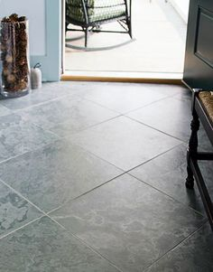 Large 189 Square Gray Brazilian Slate Tiles Were Laid On A Diagonal Starting At