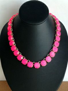 New Arrival-Pop Hot Pink Collar Necklace  A Faceted Row Of HOT PINK Sparkling Crystal Studs !  Make Your Statement Noticed !      Size: 44cm x 7cm Adjustable Chain