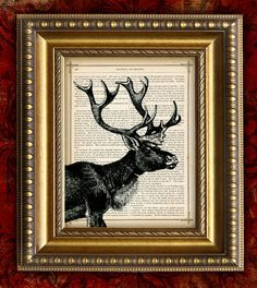 Caribou Reindeer 8x10 on Book or Dictionary Page Etsy