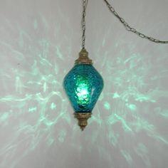 LG MID CENTURY TEAL BLUE OPTIC GLASS HANGING SWAG LAMP LIGHT. $125.00, via Etsy.