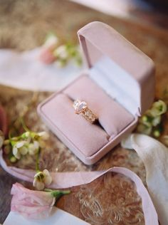 In love with this ring and blush pink ring boxl | Captured by Abigail Malone