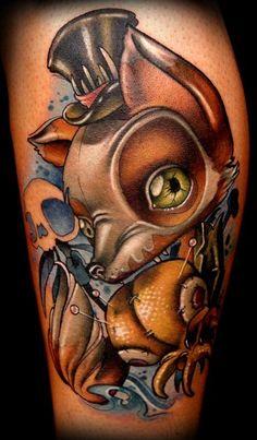 Voodoo Fox Tattoo - Kelly Doty http://inkchill.com/voodoo-fox-tattoo/ #voodoo #fox #tattoo
