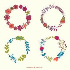Guirlande de fleurs collection dessinée à la main