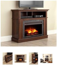 45 Inch TV Stand With Fireplace Media Console Electric Entertainment Center  SALE #Whalen