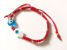 Hamsa Evil Eye Bracelet Red String Kabbalah Mother Of Pearl Charm Jewish Jewelry Protection Pulsera Mal De Ojo