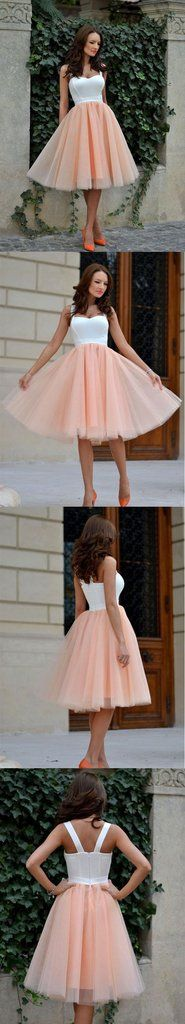 Cute tulle A line short prom dress, cute homecoming dress – trendty