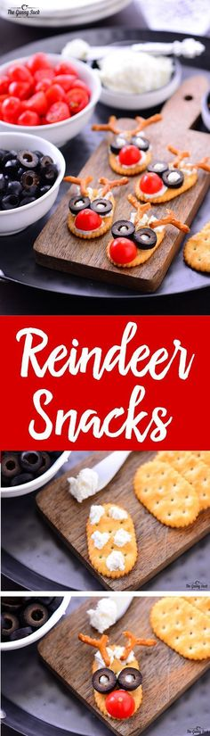 These simple, delicious Reindeer Snacks are sure to bring smiles to the faces of kids of all ages. They would be great for a holiday party, potluck or even as an after school snack! Face Recipes For) Holiday Party Appetizers, Appetizers For Kids, Holiday Snacks, Christmas Snacks, Healthy Snacks For Kids, Holiday Recipes, Kids Christmas, Cheese Snacks, Creative Food