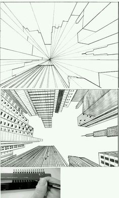 Big city Perspective Drawing Lessons, Perspective Sketch, One Point Perspective, How To Draw Perspective, Pencil Art, Pencil Drawings, Art Drawings, City Drawing, Technical Drawing