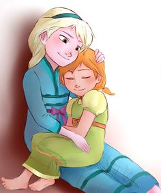 "bibinella:  ""Elsa and Anna as kids c:  http://sango94.deviantart.com  """