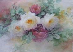 Roses by Celeste McCall - shown on ARTchat - Porcelain Art Plus (formerly Chatty Teachers & Artists).  This one I overworked for sure.  But I still like the mood in it.