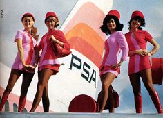 Vintage 1960s PSA Airlines stewardesses fashion flight attendants. Mod red and pink dresses.