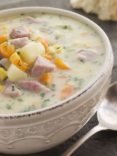 Herbed Potato Soup with Ham and Vegetables