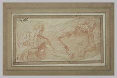 Le ¨Primatice: 2 hommes, vus en buste, tournés vers la droite, l'un drapé, l'autre nu Le Louvre