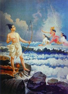 Varuna Pacifying Rama's Anger when the Sea Refused to give Way to Reach Lanka (Reprint on Paper - Unframed)