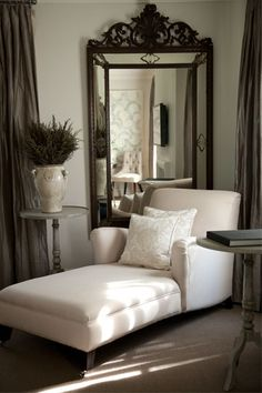 John Jacob Interiors: Restful seating area, creamy light walls with contrasting dark taupe silk curtains. ...