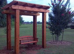 We built a Cedar Pergola with a loveseat swing. This is in a backyard in Houston, TX.